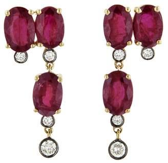 Yannis Sergakis Adornments Charnières Rouge Vertical Triplet Stud Earrings