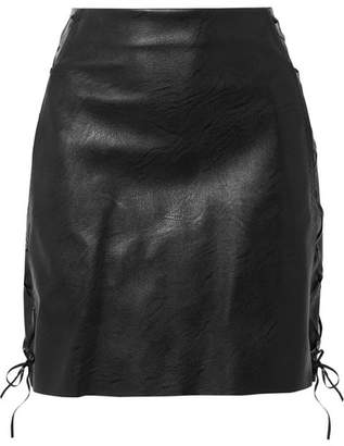 Stella McCartney Lace-up Faux Textured-leather Mini Skirt - Black