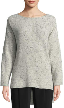 Co Boat-Neck Long-Sleeve Speckle High-Low Cashmere Sweater