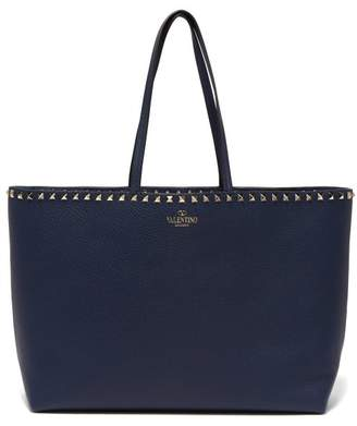 Valentino Rockstud Leather Tote Bag - Womens - Navy