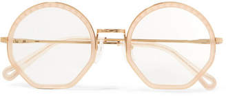 Chloé Tilda Round-frame Acetate And Gold-tone Optical Glasses - Beige