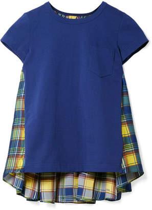 Sacai Cotton-jersey And Checked Satin T-shirt - Blue