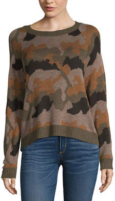 A.N.A Womens Crew Neck Long Sleeve Camouflage Pullover Sweater