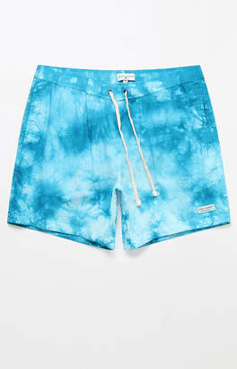 "Modern Amusement Blue Haze Tie-Dyed 17"" Swim Trunks"
