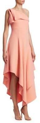 Oscar de la Renta One-Shoulder Asymmetric Ruffle Dress