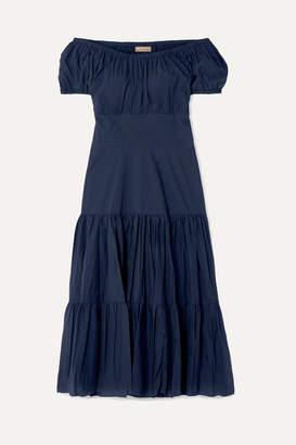 Michael Kors Off-the-shoulder Tiered Crinkled Cotton-poplin Dress - Navy