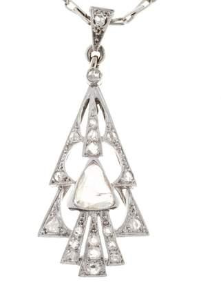 14K White Gold Diamond Paddle Arrowhead Christmas Pendant Necklace
