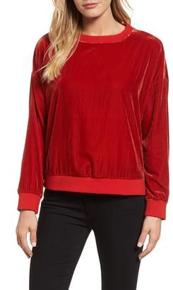 Kenneth Cole New York Zipper Velvet Sweatshirt