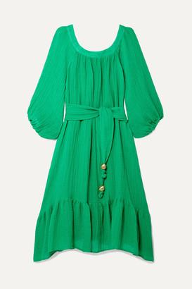 Lisa Marie Fernandez Laure Belted Linen-blend Gauze Midi Dress - Green
