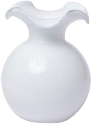Vietri Hibiscus Glass Small Fluted Vase, White