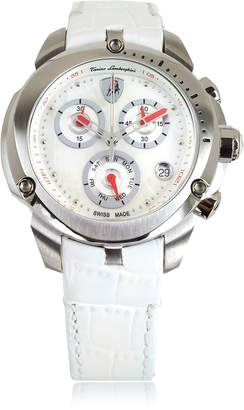 Lamborghini Tonino Shield Lady Silver Tone Stainless Steel and White Croco Print Leather Chronograph Watch