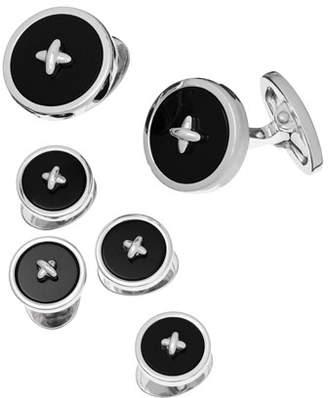 Jan Leslie Classic Button Onyx Cufflinks & Studs Set