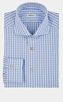 Kiton Men's Checked Cotton Poplin Dress Shirt - White