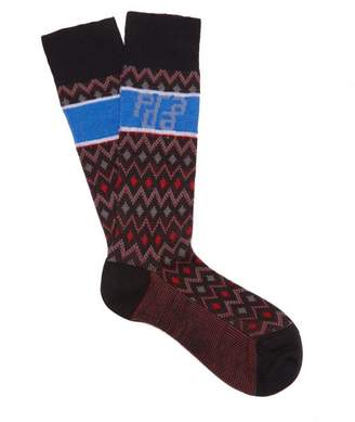 Prada Logo Intarsia Wool Blend Socks - Womens - Black