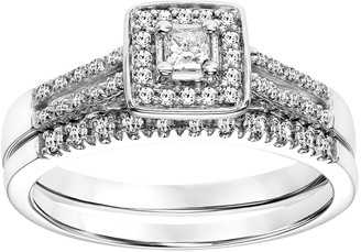Vera Wang Simply Vera 14k White Gold 1/3 Carat T.W. Certified Diamond Square Halo Engagement Ring Set