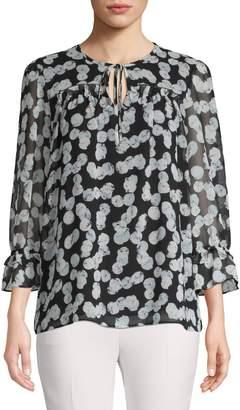Karl Lagerfeld Paris Printed Long-Sleeve Top