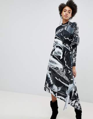 Star Wars ASOS DESIGN ASOS x Printed Long Sleeve Hanky Hem Dress