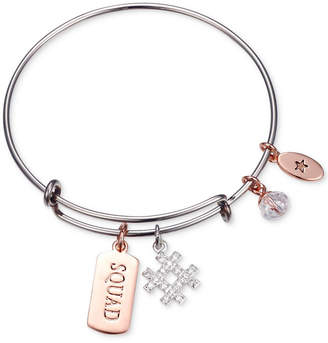 """Unwritten Squad"""" Hash-Tag Charm Adjustable Bangle Bracelet in Two-Tone Stainless Steel"""