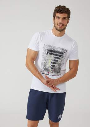 Emporio Armani Ea7 Stretch Cotton T-Shirt With Basketball Print
