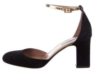 Tabitha Simmons Suede Round-Toe Pumps