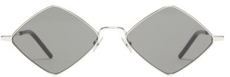 Saint Laurent Lisa Diamond Shape Metal Sunglasses - Womens - Silver Multi