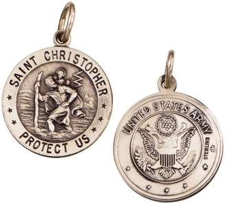 Sterling Saint Christopher/ Army Emblem Medal Charm