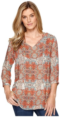 Tribal - Printed 3/4 Sleeve Blouse w/ Tassel Women's Blouse $74 thestylecure.com