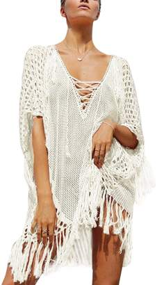 iBaste Womens Sexy Crochet Cover Ups Summer Lace Up V Neck Tassels Slit Beach Dress