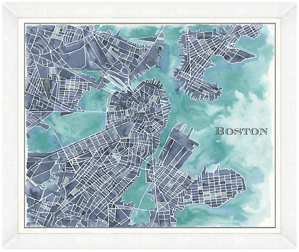 Watercolor Navy Boston Map - 22