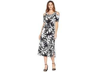 American Rose Thalia Cold Shoulder Maxi Dress with Side Slit