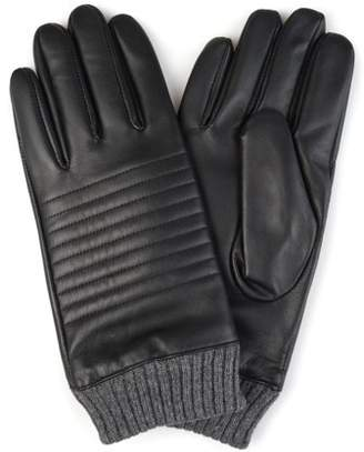 a862d06d9553e Territory Mens Lined Knit Cuff Genuine Leather Gloves