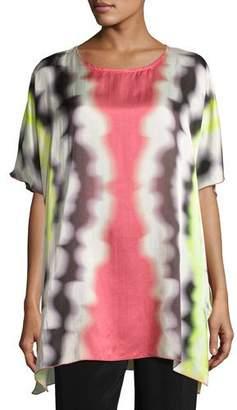 Caroline Rose Watercolor Waves Short-Sleeve Caftan, Plus Size