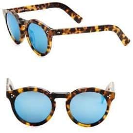 Illesteva Leonard II Tortoise Round Mirrored Sunglasses