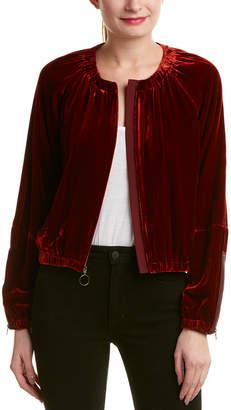 BCBGMAXAZRIA Velvet Silk-Blend Bomber Jacket