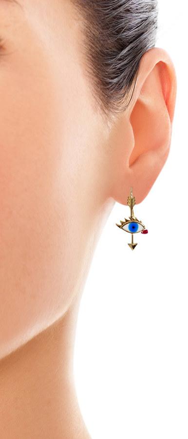 Delfina Delettrez Ruby, enamel & gold Tears earring