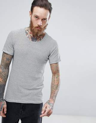 Casual Friday Linen Mix T-Shirt In Stripe