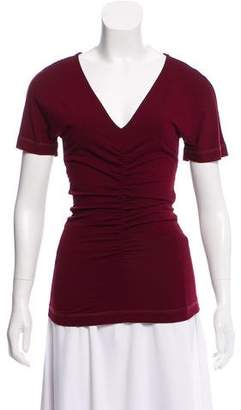 Narciso Rodriguez Ruched V-Neck T-Shirt