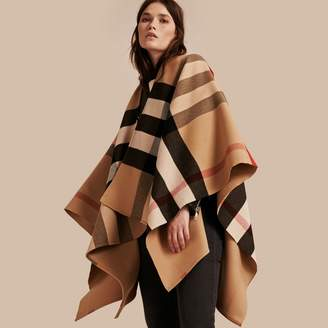 Burberry Check Wool Poncho, Brown