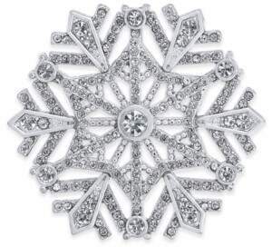 Holiday Lane Silver-Tone Crystal Snowflake Pin, Created For Macy's