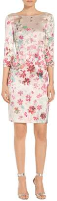 St. John Multi Color Brush Stroke Floral Print Dress