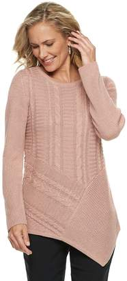 Dana Buchman Women's Lurex Asymmetrical Hem Sweater