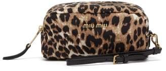 Miu Miu Leopard Print Canvas Pouch - Womens - Leopard