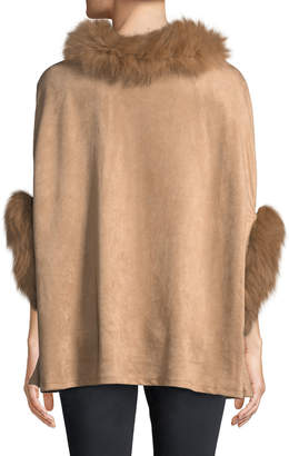 Neiman Marcus Fur-Trim Faux-Suede Poncho