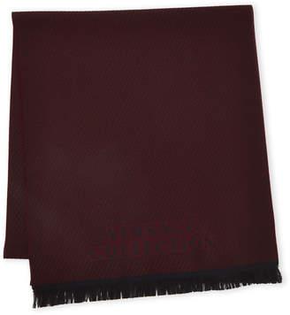Versace Stripe Logo Wool Scarf