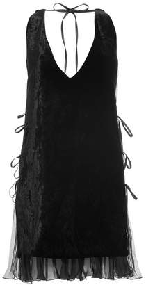 DSQUARED2 Velvet Dress with Chiffon Trim