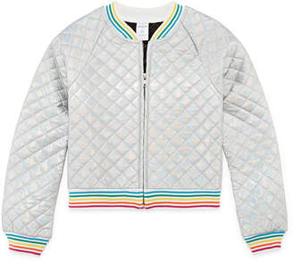 Arizona Quilted Rainbow Bomber Jacket - Girls' 4-16 & Plus