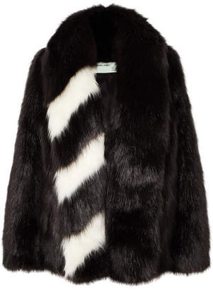 Off-White Oversized Striped Faux Fur Jacket - Black