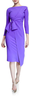 Chiara Boni Gurli Bateau-Neck 3/4-Sleeve Asymmetric Flap Dress