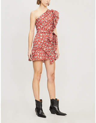 Etoile Isabel Marant Teller one-shoulder frilled linen dress