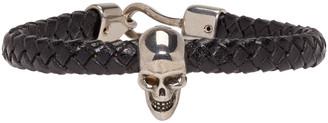 Alexander McQueen Black Braided Leather Skull Bracelet $295 thestylecure.com